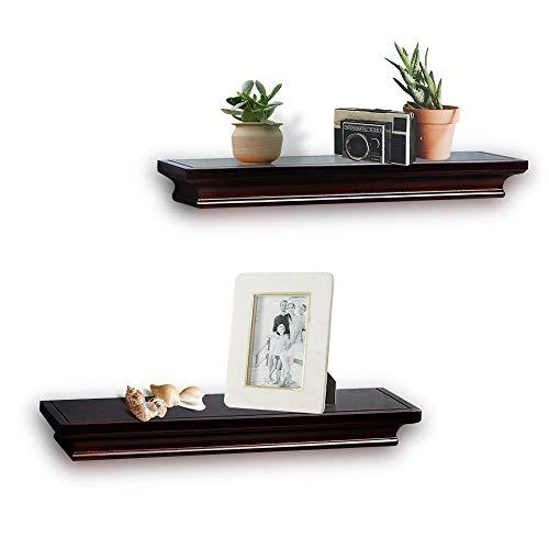 AHDECOR Floating Shelves Wall Mounted Ledge Espresso Finish, 4 Inches Deep, Set of 2