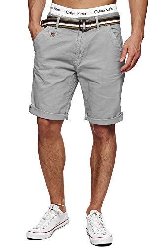 Indicode Herren Cuba Chino Shorts mit 5 Taschen inkl. Gürtel aus 100% Baumwolle | Kurze Hose Regular Fit Bermudas Sommerhose Herrenshorts Short Men Pants Chinohose für Männer Light Grey XXL