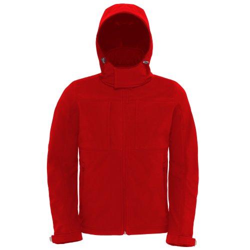 B&C Herren Softshell-Jacke mit Kapuze, Fleece-Innenfutter, atmungsaktiv, wasserabweisend, Winddicht (S) (Rot)