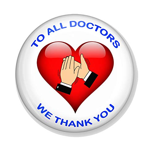 Gifts & Gadgets Co. To All Doctors We Thank You Miroir de maquillage rond 77 mm Motif cœur Idéal pour sac à main ou poche
