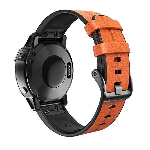 ANBEST Braccialetti Erano Realizzati in Silicone e Cuoio Compatibile con Fenix 6X/Fenix 5X/Fenix 6X Pro/Fenix 5X Plus Cinturino di Ricambio per Fenix 3/3HR/Tactix Delta Smartwatch