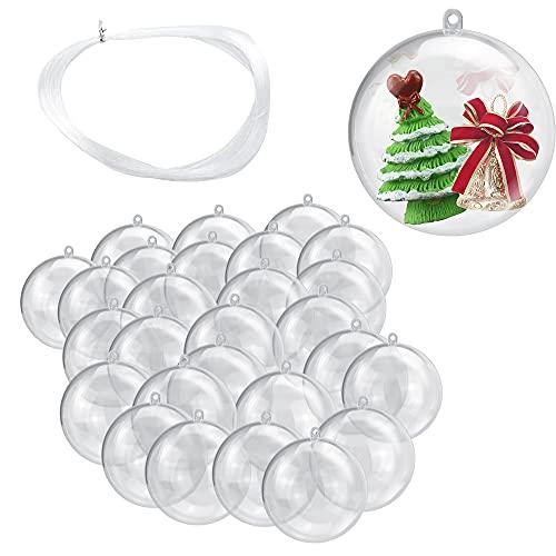 JUNMEIDO 30 PCS Boule de Noël Transparente 4cm Boules Transparentes à Remplir Boule Transparente Plastique avec 50m Fil de Pêche pour Enfants Anniversaire Cadeaux Bricolage Mariage Fête Noel
