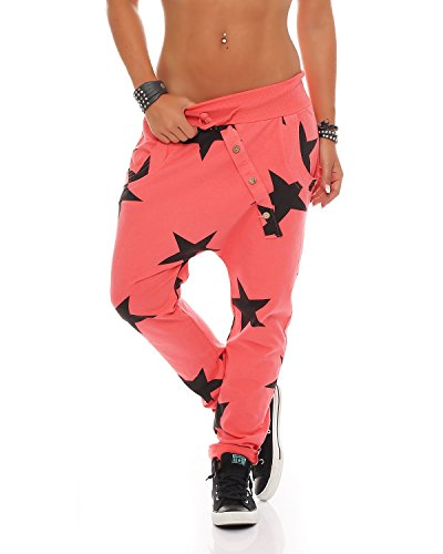 Zarmexx Damen Sweatpants Baggy Boyfriend mit Knopfleiste Freizeithose Jogginghose Baumwolle Sporthose Yogapants Jogger Loose fit Big Star One Size (Einheitsgröße, lachs)