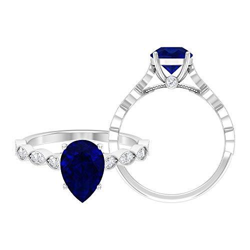 Anillo solitario de zafiro azul creado en laboratorio de 2,25 CT, anillo de acento moissanita, 14K Oro blanco, laboratorio de zafiro azul creado, Size:EU 60