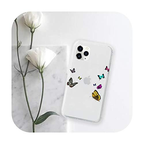 Funda transparente para iPhone 11 12 mini pro XS MAX 8 7 6 6S Plus X 5S SE 2020 XR-a13-iPhoneXSMAX mariposa azul acuarela hermosa funda para teléfono móvil
