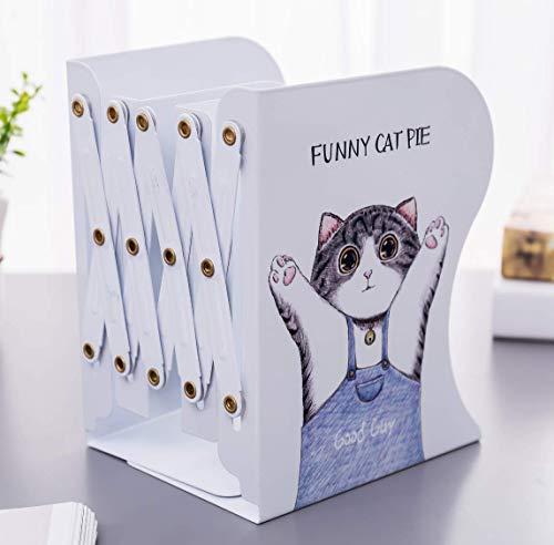 Sujetalibros retráctil Estirable estante para libros Lindo gatito / papelería ajustable estantería de almacenamiento de oficina suministros de aprendizaje para estudiantes soporte para libros portátil