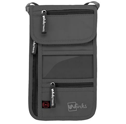 RFID Travel Neck Pouch Passport Holder   Premium Waterproof Neck Wallet Stash