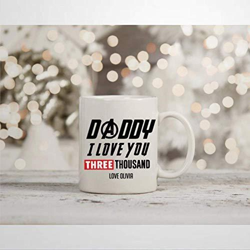 N\A Marvel Endgame Daddy I Love You 3000 Taza de café Inspirada en Tony Stark Iron Man Novedad Taza de cerámica Taza de té Regalo de cumpleaños de Navidad para Hombres y Mujeres