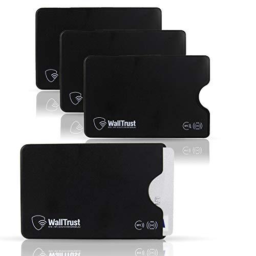 WallTrust RFID Schutzhülle für Kreditkarten, Plastik, TÜV, 3er Set, Schwarz