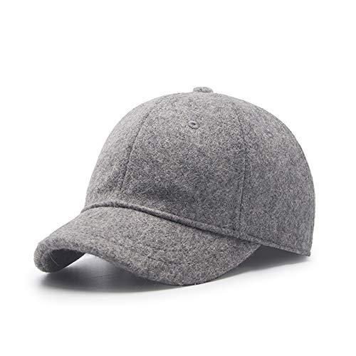 Unisex Wool Blend Basic Short Bill Cute Hiphop Ball Cap Bill Snapback Hat,Outdoor Sports Warm Baseball Cap Anti Sweat Sunscreen Trucker Hats(Medium, Short Brim, 02 Light Grey)