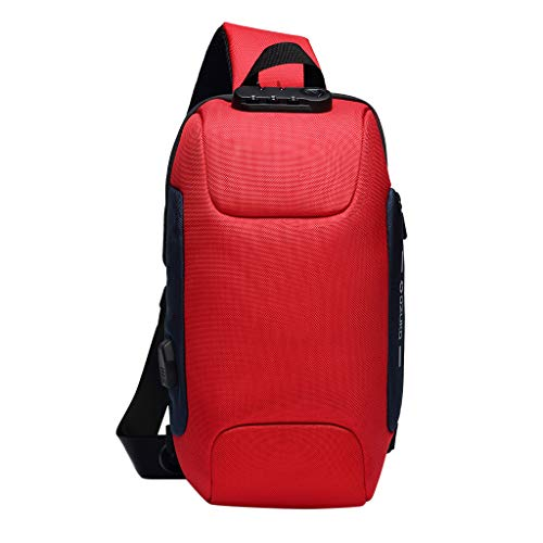 riou Bolsas Bolsa de Mensajero Multifunción para Hombres Bolsa de viaje impermeable Antirrobo Portátil Backpack Casual Hombro Mochila Adolescentes Bag Backpack la escuela