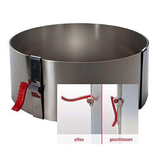Tortenring/Backrahmen mit Klemmhebel, ø ca. 17-30 cm, Höhe ca. 7cm, backfest bis 200 Grad, Edelstahl
