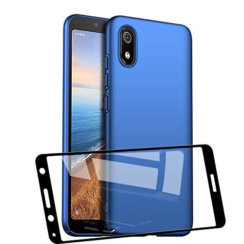UCMDA Funda para Xiaomi Redmi 7A con Protector de Pantalla, Funda Duro PC Delgada Minimalista Protector Carcasa para Xiaomi Redmi 7A con Cristal Templado (Azul)