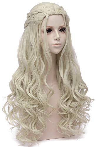Mersi Blonde Wigs for Khaleesi Cosplay Costume Daenerys Targaryen Wig Long Braided Party Hair Wigs for Halloween ( Blonde ) with Wig Cap S039G