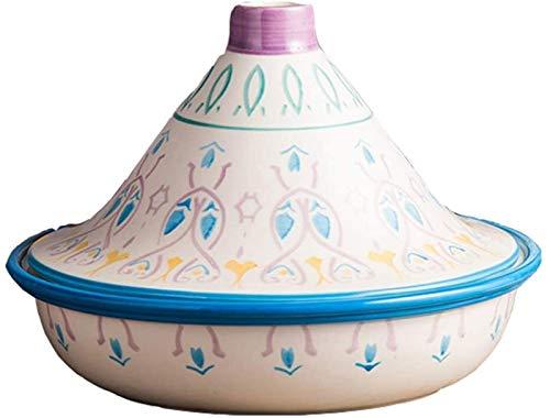 YUHW Handgemalter natürlicher Taginentopf, Keramiktöpfe für Eintopf Casserole Slow Cooker Lead Free Home Kochgeschirrtopf für Verschiedene Kochstile 104 (Color : Pink)