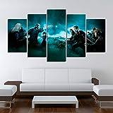 OPARY Lona Pintura Moderno Mural 5 Paneles Personaje de la pelcula Harry Potter Imagen Decoracin de Pared Modular Pster Resumen,B,20352+20452+20551