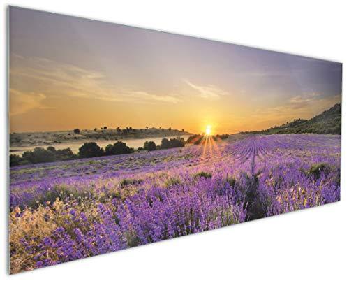 Wallario Küchenrückwand aus Glas, in Premium Qualität, Motiv: Sonnenuntergang über dem Lavendel | Spritzschutz | abwischbar | pflegeleicht