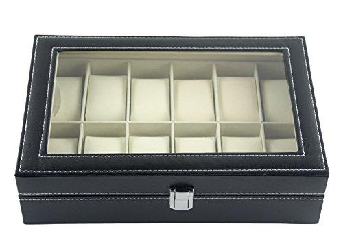 DoubleBlack, portagioie in ecopelle, con 12 scomparti, organizer per riporre gli oggetti