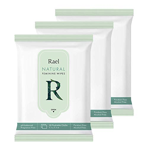 Rael Flushable Feminine pH Wipes - Travel size, All Skin, Paraben Free, pH-Balanced, Daily use (3 Pack)