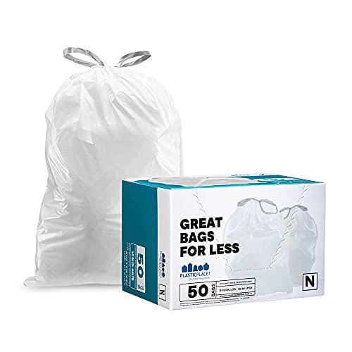 Plasticplace Simplehuman (x) Bolsas de basura con cordón compatible con código N de 12 – 13 galones, 45 – 50 litros, 57,8 x 80...