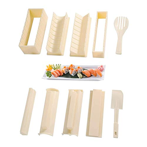 Sushi Making Kit Complete Sushi Set for Beginners 10 Pieces Plastic Sushi Maker Tool with 8 Sushi Roll Mold Shapes DIY Home Sushi Tool Sushi Rolls