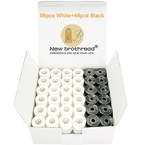 New brothread 144pcs (96Blanco+48Negro) 60S/2 (90WT) hilo de la bobina Plastica Size A (SA156) para maquina de bordar y coser Hilo de coser hilo de poliéster