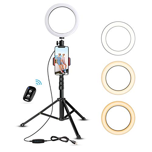 8' Selfie Ring Light with Tripod Stand & Cell Phone Holder for Live Stream/Makeup, UBeesize Mini Led...
