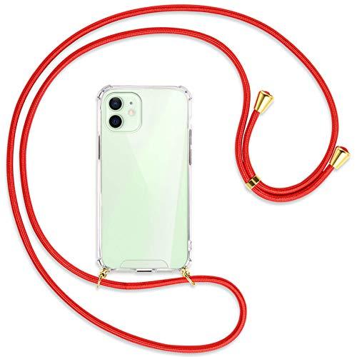 mtb more energy® Collana Smartphone per Apple iPhone 12, 12 PRO (6.1'') - Rosso/Oro - Custodia indossabile per Collo - Cover a Tracolla con cordina
