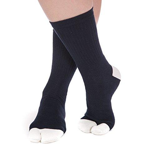 Big Toe V-Toe Athletic Blue And White Flip Flop Tabi Stylish Socks Thicker Durable Fun Comfortable Socks