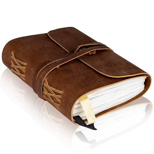 Diario rilegato in pelle per donne e uomini - Carta a righe - Quaderno da scrittura in vera pelle fatto a mano - Perfetto per scrivere, poeti, viaggiatori, come un diario 18x13cm pollici
