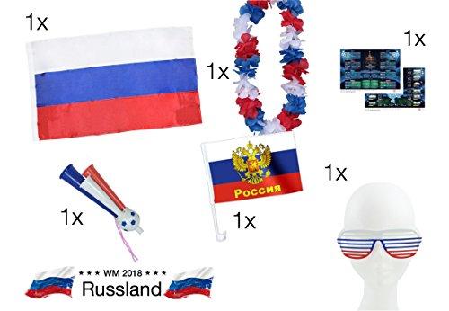 XXL fanset Rusland 1x Russische vlag Russland vlag vlag vlag 1x bloemenketting blauw, wit, rood, 1x fantasie trood, 1x autovlag vlag auto, 1x partybril voetbal wereldkampioenschap WK 2018