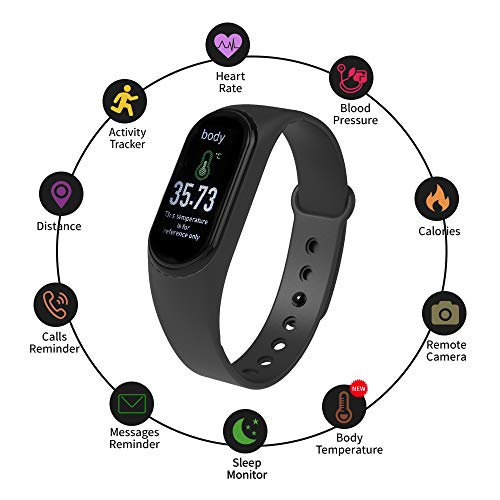 M4 Pro Smart Watch Smart Bracelet BT Connection Body Temperature Heart Rate Blood Pressure Monitor Activity Tracker 0.86in Screen Pedometer Sleep Monitor
