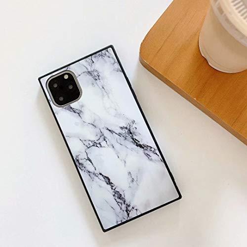 weichunya Fashion Square mármol PatternSlim Caso Suave TPU Shell Compatible con iPhone 11 (6,1 Pulgadas) (Color : White)