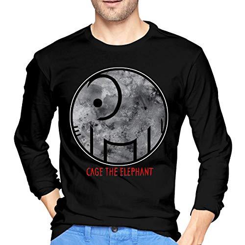 Qin Tong Camiseta de los Hombres Cage The Elephant Logo Sports Mens Tops Long Sleeve Tshirts Black Unique Design