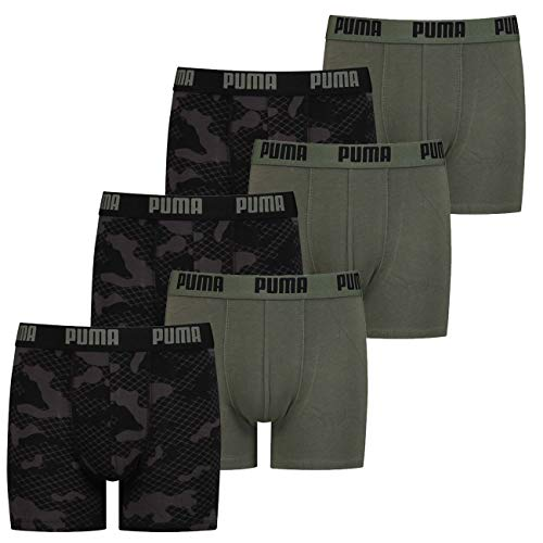 PUMA Jungen Boxershort Camo Alloverprint 128 140 152 164 176 95% Baumwolle ohne Eingriff Schwarz Blau Grün - 6er Pack, Größe:140, Farbauswahl:6X Army Green (002)