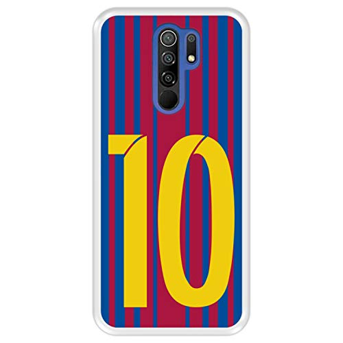 Hapdey Funda Transparente para [ Xiaomi Redmi 9 ] diseño [ Ilustración fútbol, número 10 ] Carcasa Silicona Flexible TPU