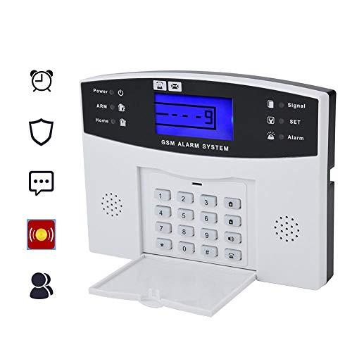ASHATA GSM draadloze alarminstallatieset, LCD draadloos alarminstallatie, compleet systeem, GSM huisbeveiliging, alarminstallatie GSM diefstalbeveiliging alarm systeem met afstandsbediening externe sirene DIY kit voor huis kantoor EU, wit
