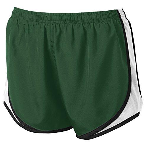 Joe's USA Ladies Moisture-Wicking Running Shorts for Women. Forest Green/White/Black-M