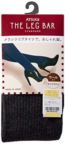 [アツギ]タイツAtsugiTheLegBAR(アツギザレッグバー)【日本製】450デニール相当ウール入りメランジリブ柄レディースBL1682ブラック日本L~LL(日本サイズ2L相当)