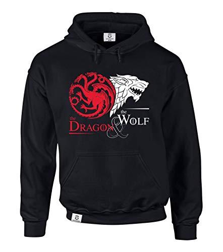 Game of Thrones - The Dragon & The Wolf - Targaryen & Stark - GoT Herren Hoodie - von Shirt Department, L, schwarz-Weiss