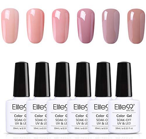 Elite99 Gel Nail Polish 6PCS Kit Nude Series 10ML Soak Off UV LED Gel Nail Varnish Manicure Lacquer Nail Art Starter Kit Salon Decor Gift Set