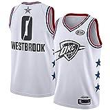 Russell Westbrook Camiseta de baloncesto para hombre, Oklahoma City Thunder # 0 Camiseta sin mangas Camiseta de baloncesto con ventilador bordado de malla Transpirable Absorbente de sudor Limpieza rep