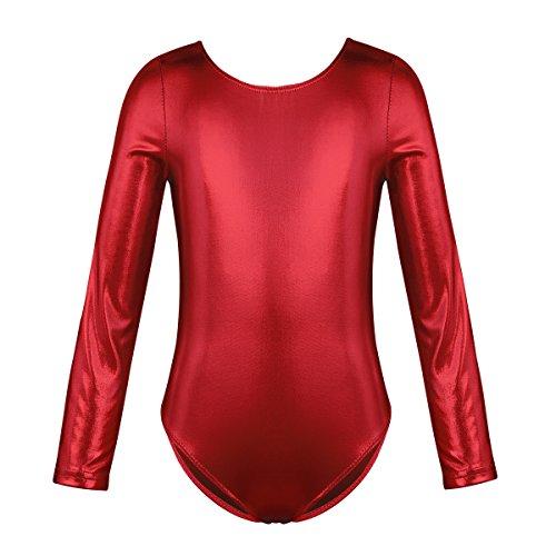 Freebily Kinder Mädchen Ballettanzug Langarm Body Glänzend Metallic Einteiler Bodysuit Ballett Trikot Tanz-Body Ballettkleidung Turnanzug Gymnastikanzug Rot 128-140/8-10 Jahre