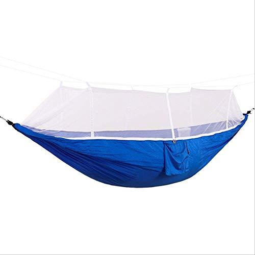 Hangmat MYKK 1-2 Persoon Draagbare Hangmat Buiten Met Klamboe Hoge Sterkte Parachute Stof Hangbed Schommel 260 * 130cm Blauw B