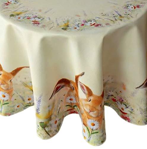 Raebel Tischdecke - hellgelb-bunt Stickerei Druck Hasen auf Frühlingswiese Ostern (170 cm rund)