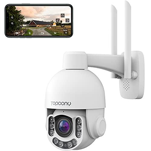 Telecamera Wifi Esterno 5MP HD, Topcony PTZ IP Dome Telecamera di Sorveglianza con 355° Pan 110° Tilt, Zoom Ottico 4X, Visione Notturna a Colori 60m, Audio a 2 Vie, Rilevazione Umano, Supporto ONVIF
