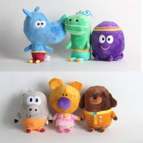 dingtian Juguete de Peluche 6pcs / Set Cartoon Hey Duggee Dog Betty Roly Pig Peluches Peluches