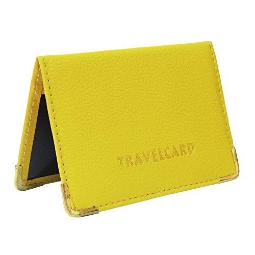 Fusion – Tarjetero de piel para billetes de transporte y tarjetas amarillo
