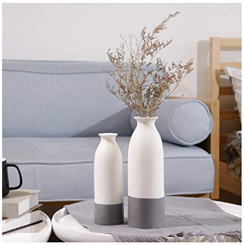 YOSPOSS Keramikvase KZ9527-W147 handgemachte moderne Keramikvase für Blumen, hohe Vasen Set für Home Office Deko, weiße Vasen unten grau, 2 Stück