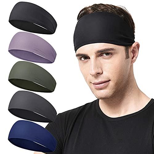 Mantimes Diadema deportiva para hombre, 5 unidades, para correr, ciclismo, baloncesto, yoga, entrenamiento de fitness, elástica, unisex (5-B)